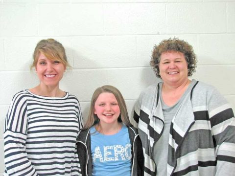 Mrs. Hamrick, Mrs. Black, and Jillian Frame of Clay County Middle School.
