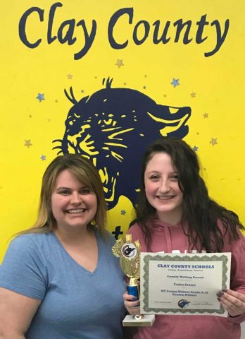 Mrs. Tanner and Taylor Frame of Clay County High School.