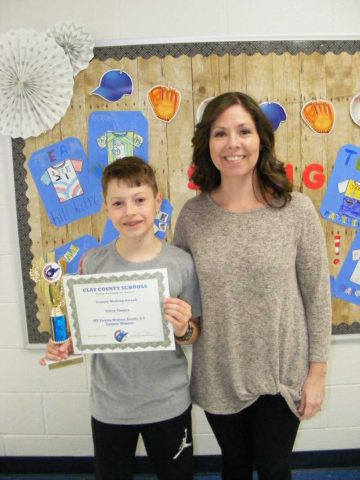 Mrs. Varney and Owen Tinney of Clay Elementary School.