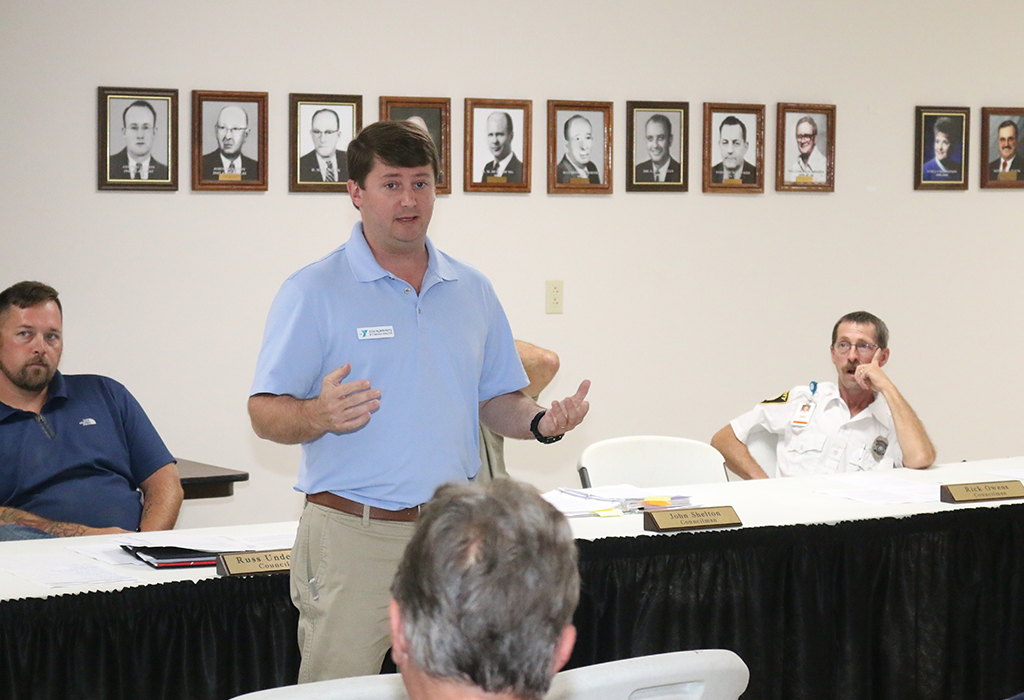 Josh Humphries Presenting Proposed YMCA in Clendenin | Photo Credit: Mark Burdette